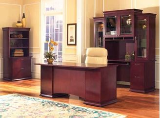 """Picture of Contemporary Veneer 72"""" Bowfront Executive Desk Workstation with Kneespace Credenza and Glass Door Overhead Storage Hutch with Lateral Bookcase"""