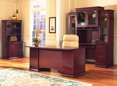 "Picture of Contemporary Veneer 72"" Bowfront Executive Desk Workstation with Kneespace Credenza and Glass Door Overhead Storage Hutch with Lateral Bookcase"
