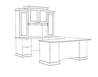 Picture of Contemporary Veneer U Shape Executive Office Desk Workstation with Glass Door Overhead Storage Hutch