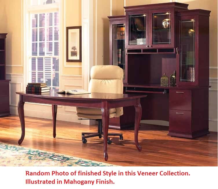 ... Picture Of Contemporary Veneer U Shape Executive Office Desk  Workstation With Glass Door Overhead Storage Hutch