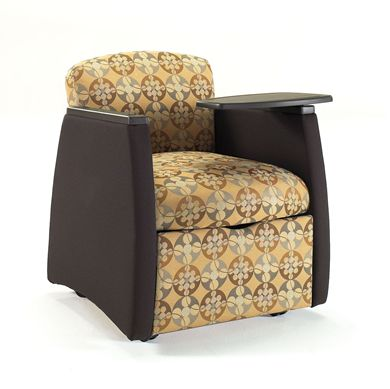 Picture of Reception Lounge Mobile Tablet Arm Club Chair with Storage Shelf
