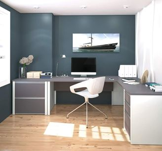 Picture of  Contemporary L- Shaped Workstation With Lateral File And Drawers