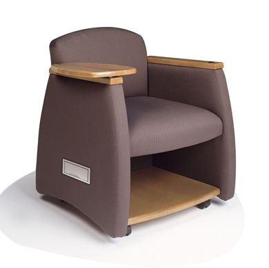 Picture of Reception Lounge Mobile Tablet Arm Club Chair with Storage Shelf and Power Module
