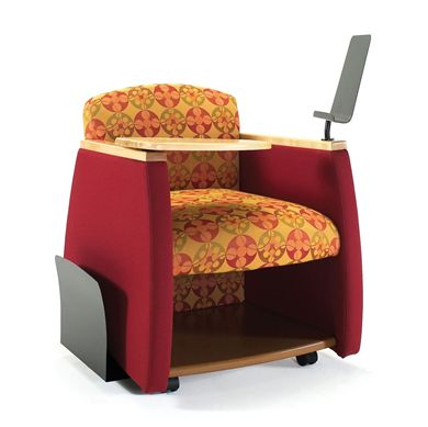 Picture of Reception Lounge Mobile Tablet Arm Club Chair with Storage Shelf, Paper Stand and Newspaper Holder