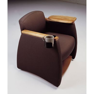 Picture of Reception Lounge Mobile Tablet Arm Club Chair with Storage Shelf and Cup Holder