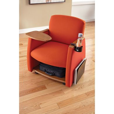 Picture of Reception Lounge Mobile Tablet Arm Club Chair with Storage Shelf,Cup and Newspaper Holder