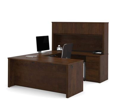 Picture of U-Shaped Workstation With Hutch,Drawers And Pedestals