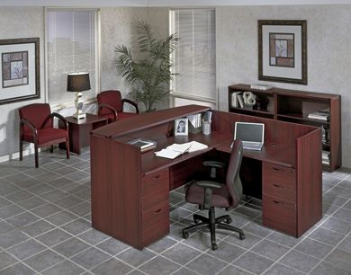 Picture of L Shape Reception Desk Workstation with Filing, Freestanding Bookcases and End Table