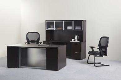 """Picture of 72"""" Contemporary Bowfront Executive Desk with Kneespace Credenza with Glass Door Overhead Storage"""
