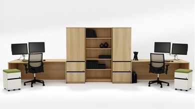 Picture of 2 Person Desk Station with Mobile Filing, Bookcase and Wardrobe Storage
