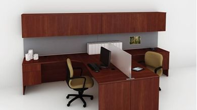 """Picture of 2 Person 72"""" L Shape Office Desk Workstation with Wall Mount Storage"""