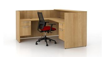 "Picture of 72"" L Shape Reception Desk Workstation with Filing Pedestals"
