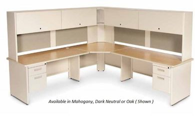 Picture of Corner L Steel Office Desk Workstation with Closed Overhead Storage and Filing Pedestals