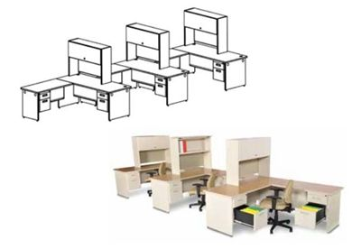 Picture of 3 Person L Shape Steel Office Desk Station with Overhead and Filing Storage