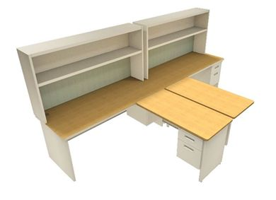 Picture of 2 Person Steel L Shape Office Desk Workstation with Filing and Overhead Storage