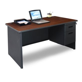 """Picture of 48""""W Steel Single Pedestal Desk with Filing Cabinet"""