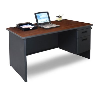 "Picture of 48""W Steel Single Pedestal Desk with Filing Cabinet"