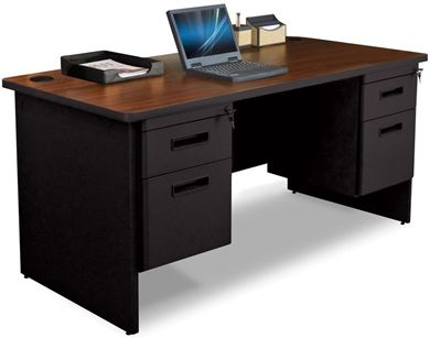 """Picture of 60""""W Steel Double Pedestal Desk with Filing Cabinet"""