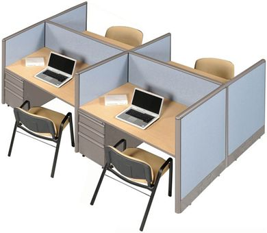Picture of Cluster of 4 Person Telemarketing Cubicle Workstation with Filing Cabinets