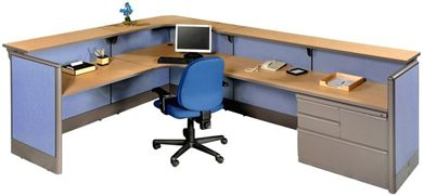 Picture of L Shape Reception Desk Cubicle Workstation with Filing