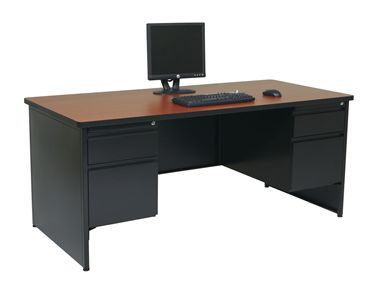 """Picture of 66""""W Double Pedestal Steel Desk with Filing Cabinets"""