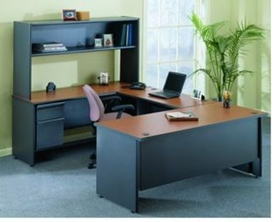 """Picture of 72""""W U Shape Steel Office Desk with Filing Cabinet and Overhead Storage"""