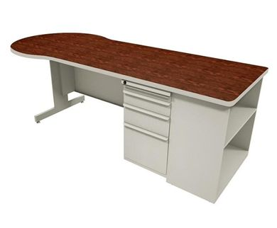 Picture of P Top Steel Office Desk with Filing Pedestal and Low Bookcase