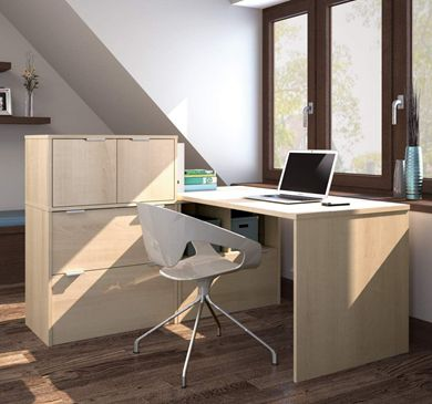 "Picture of 30"" X 60"" L-Shaped Desk With Lateral File Drawers"