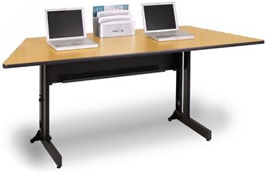 """Picture of 72""""W Trapezoid Folding Training Table on Casters with Wire Management"""
