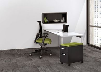 """Picture of 60"""" Table Desk Workstation with Wall Storage and Mobile Pedestal"""