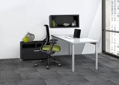 """Picture of 60"""" Table Desk Workstation with Wall Storage and Laterel File Cabinet"""