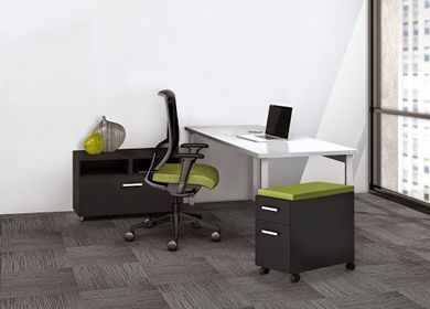 """Picture of 60"""" Table Desk Workstation with Open Storage and Mobile Pedestal"""