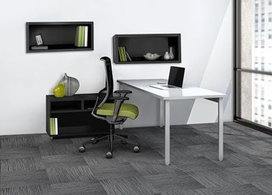 """Picture of 60"""" Table Desk Workstation with Open Storage and Wall Mount Cabinets"""