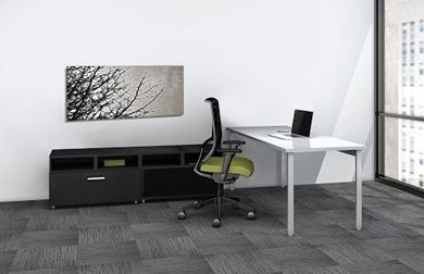"""Picture of 60"""" Table Desk Workstation with Open Lateral Storage"""