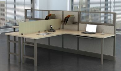 Picture of 2 Person L Shape Office Desk Shared Cubicle Workstation