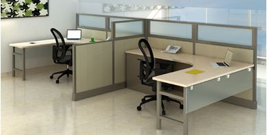 Picture of Cluster of 2 Person L Shape Office Desk Cubicle Workstation