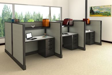 Picture of Cluster of 6 Person Telemarketing Cubicle Workstation with Filing