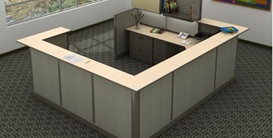 Picture of 9' x 11' Electrified U Shape Reception Desk Cubicle Workstation