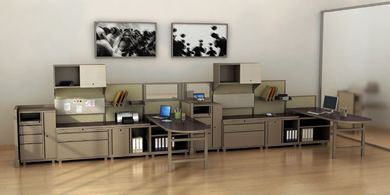 Picture of 2 Person L Shape Metal Desk Teaming Workstation with Steel Storage