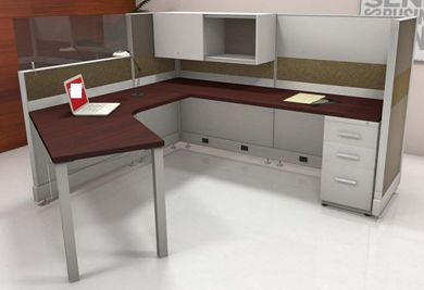 Picture of 7' x 7' L Shape Office Cubicle Desk Workstation with Storage