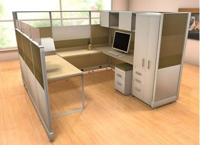 Picture of 8' x 8' U Shape Cubicle Desk Workstation with Wardrobe and Storage