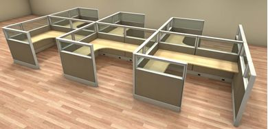 Picture of 6' x 8' Cluster of 6 Person Cubicle Desk Workstation