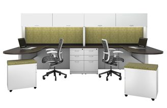 Picture of 2 Person L Shape D Top Metal Office Desk Workstation with Overhead Storage and Filing Pedestals