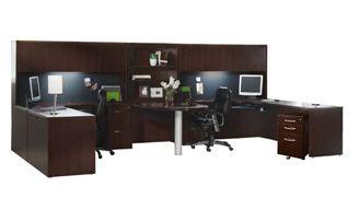 Picture of 2 Person Laminate U Shape Office Desk Workstation, Overhead Storage