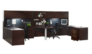 Picture of 2 Person Laminate U Shape Office Desk Workstation, Overhead Storage