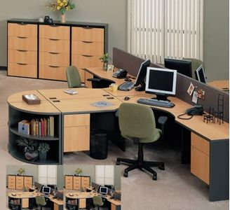 Picture Of Quad 4 Person Shared Desk Station With Drawer Lateral Filing Center