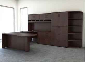 Picture Of U Shape Office Desk Workstation With Overhead Storage