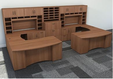 Picture of 2 Person U Shape Office Desk Workstation with Closed Overhead Storage