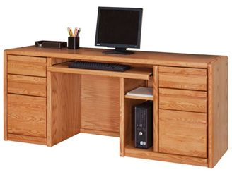 Picture of Contemporary Veneer Computer Desk with Filing Drawers