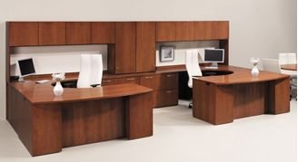 Picture of 2 Person U Shape Bowfront Office Desk Workstation with Overhead Storage Hutch